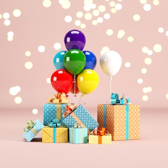 Gift box set with colorful balloon on pink color background with lighting bokeh backdrop. 3d render. minimal christmas new year concept. selective focus.
