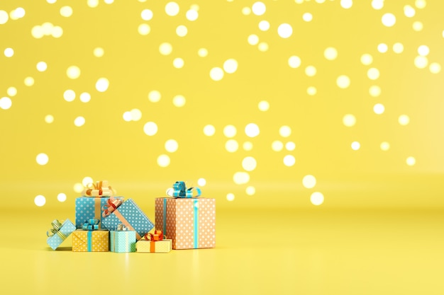 Gift box set on yellow color background with lighting bokeh backdrop. 3d render. minimal christmas new year concept. selective focus.