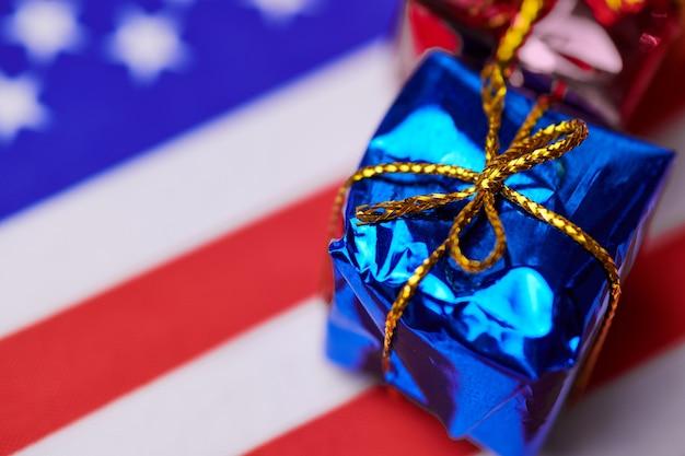 Gift box on usa flag