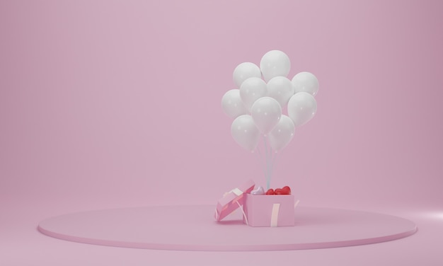 Gift box with balloon and circle podium. abstract celebration platform scene. 3d rendering