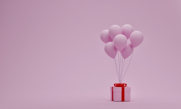 パステルピンクの背景にバルーン付きギフトボックス。バレンタインまたは特別な瞬間の概念。あなたの装飾のための空のスペース。 3dレンダリング
