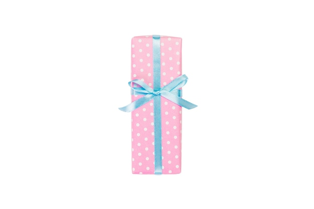 Gift box with blue ribbon on white. flat lay