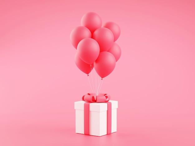 Подарочная коробка с кучей воздушных шаров 3d визуализации