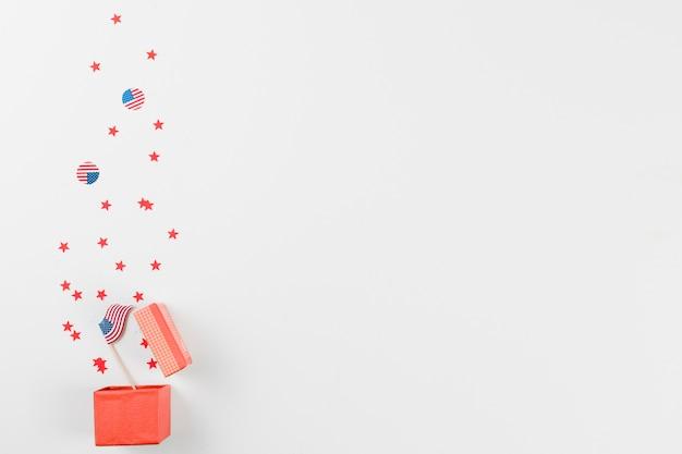 플래그와 별 선물 상자