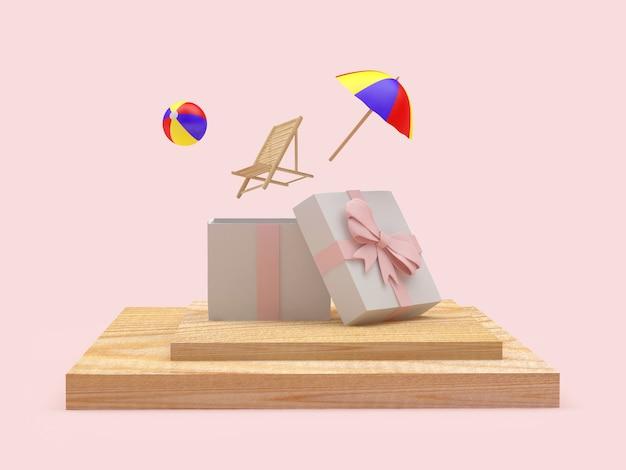 Подарочная коробка с вылетающим пляжным шезлонгом и зонтиком на подставке