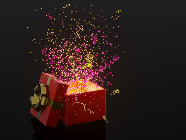 Gift box with golden bow on black background with decoration and sparkles party confetti, streamers. festive or present 3d rendering concept.