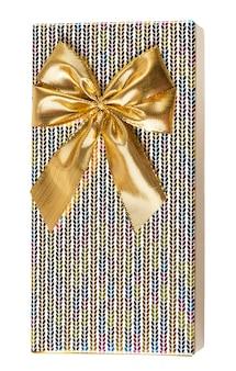 Подарочная коробка с бантом из золотой ленты