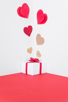 Gift box with paper hearts