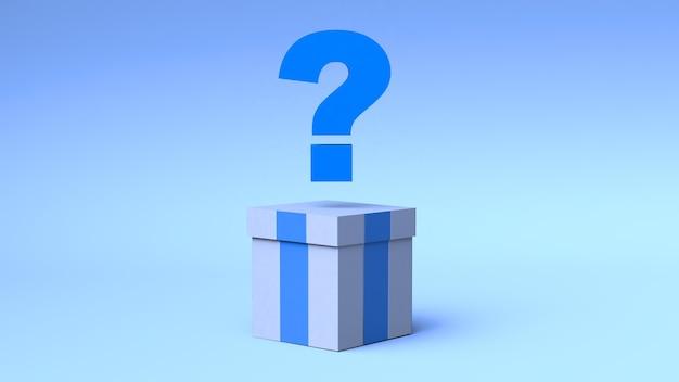 파란색 배경에 물음표가 있는 선물 상자. 서프라이즈 박스. 3d 그림입니다.