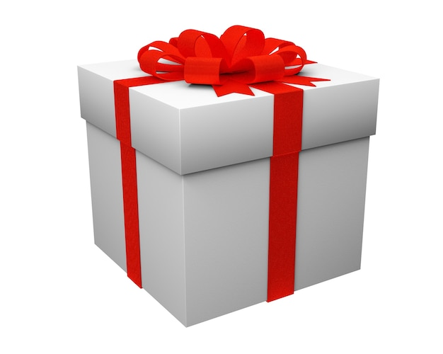 Gift box with red ribbon isolated on white background. 3d render.
