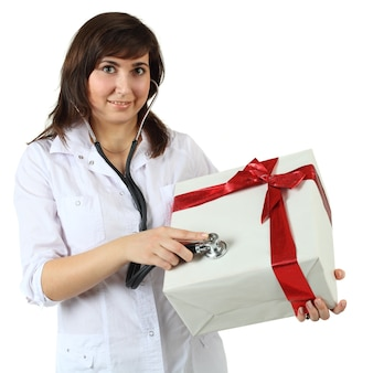 Gift box with red ribbon and woman - holiday humor concept isolated