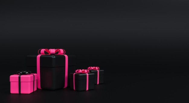 Gift box with ribbon on black background. minimal concept. 3d rendering