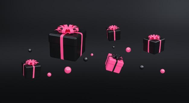 검은 바탕에 리본으로 선물 상자입니다. 최소한의 개념. 3d 렌더링