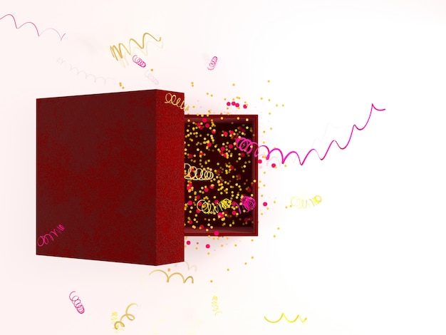 Gift box with sparkles party confetti and streamers on white background with decoration. festive or present 3d rendering concept.