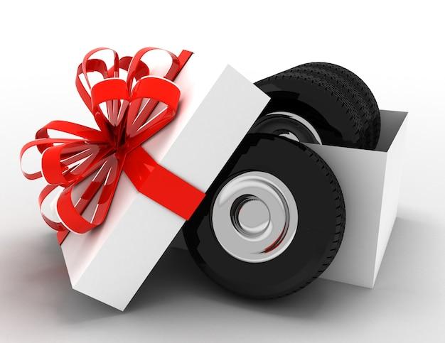 타이어와 바퀴가 달린 선물 상자. 3d 렌더링 된 그림