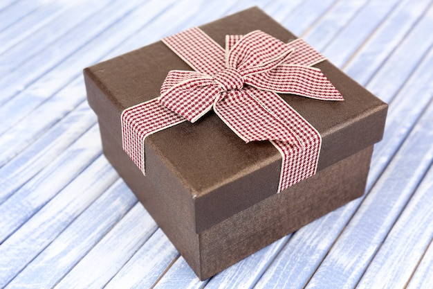 Gift box on wooden