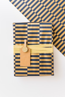 Gift box in wrap with tag