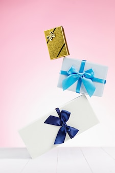 Gift box wrapped in recycled paper with ribbon bow