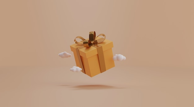 Gift box on yellow background.
