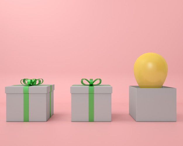 Gift box yellow balloon and green ribbon pink background 3d  render pastel