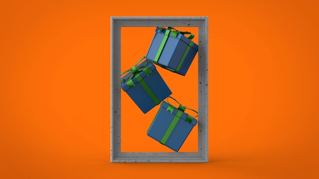 Gift boxe in frame composition