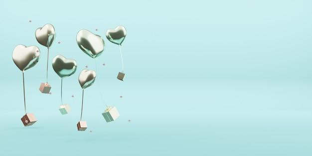 ギフトボックスと風船クリスマスオーナメント新年の装飾ボール3dイラスト