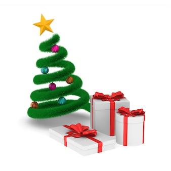 白いスペースにギフトボックスとクリスマスツリー。分離された3dイラスト