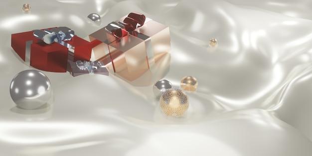 패브릭 크리스마스와 새해 배경 3d 그림의 파도에 선물 상자와 플렉시 유리