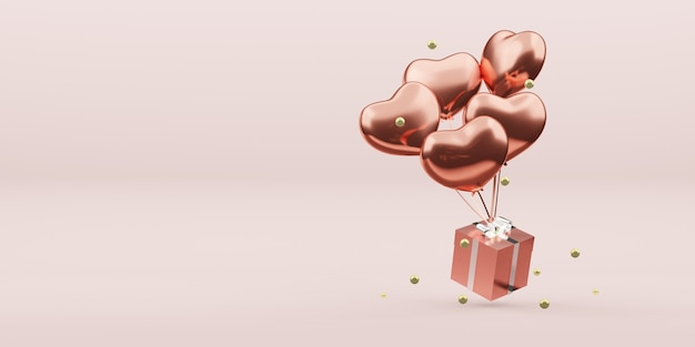Gift boxes and balloons christmas ornaments new year decoration ball 3d illustration