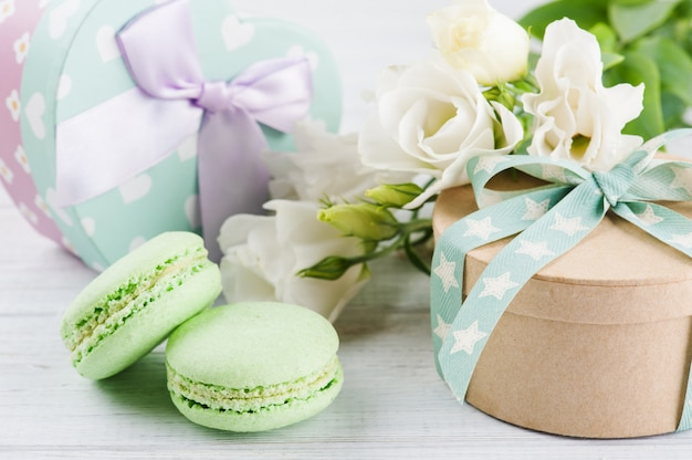 Gift boxes and bow and macaroons
