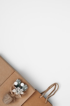 Gift boxes and gift bag on a white background