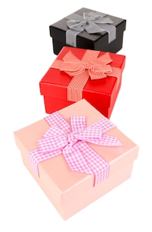 Gift boxes isolated on white surface