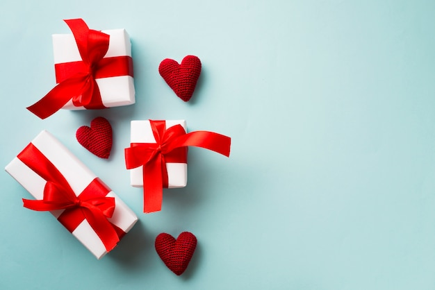 Gift boxes and knitted hearts