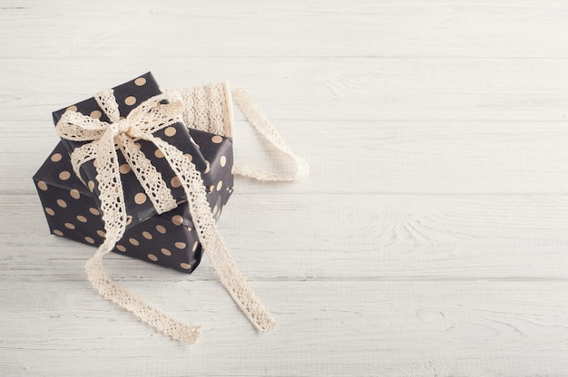 Gift boxes and lace ribbon