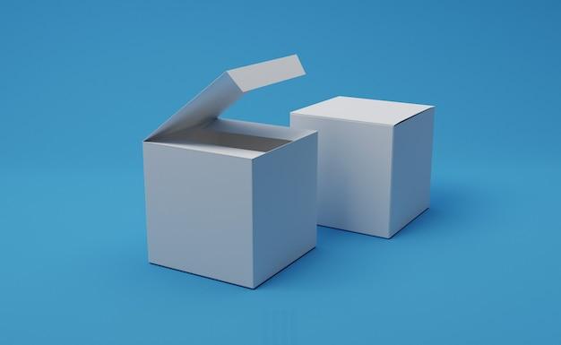 선물 상자 모형 포장 디자인. 3d 그림