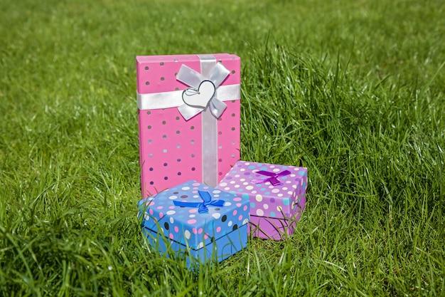 푸른 잔디, 녹색, 선물, 상자, 놀라움에 선물 상자