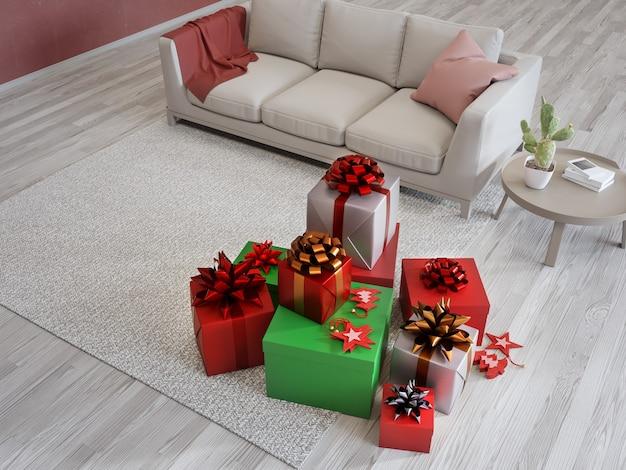Подарочные коробки на ковре и диване возле красной стены яркой гостиной в современном доме