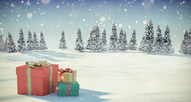 Gift boxes in the snow winter scene