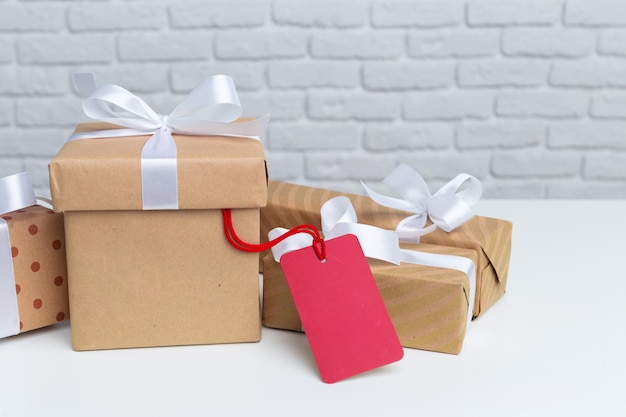 Gift boxes on white table