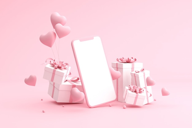 Gift boxes with balloons in heart shape and blank screen of cell phone.