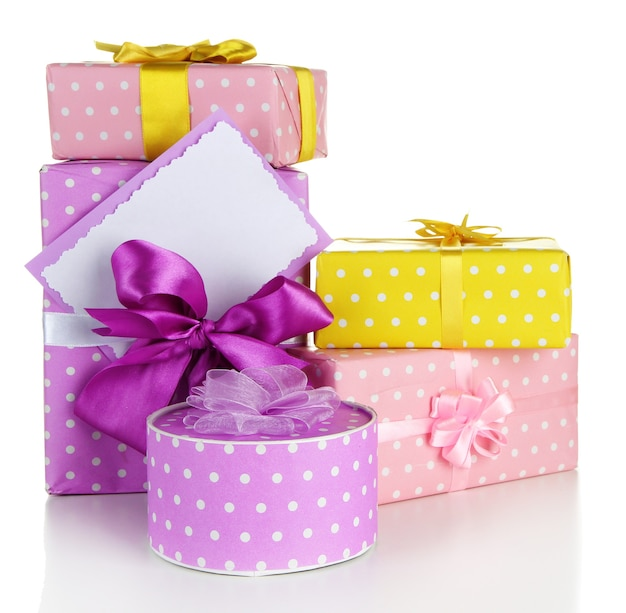 Gift boxes with blank label isolated on white