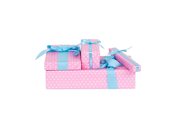 Gift boxes with blue ribbon on white.
