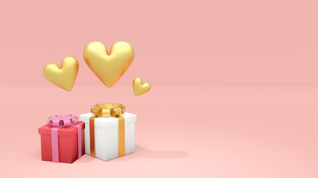 발렌타인 핑크 바탕에 골드 하트와 선물 상자. 3d 렌더링, 3d 일러스트