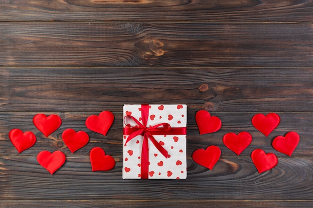 Gift boxes with hearts wrapping paper and textile hearts