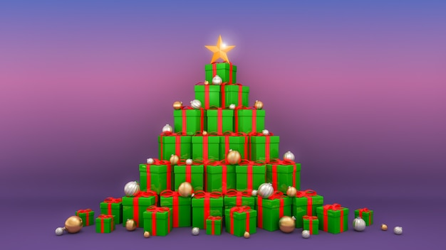 크리스마스 트리 모양의 리본이 달린 선물 상자
