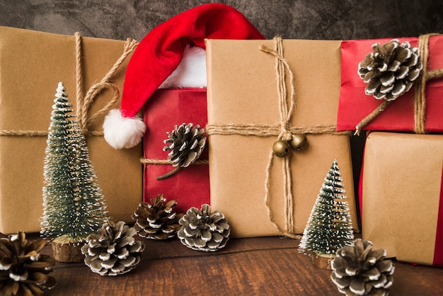 Gift boxes with santa hat