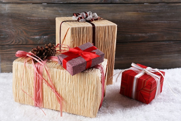 Gift boxes on wooden surface