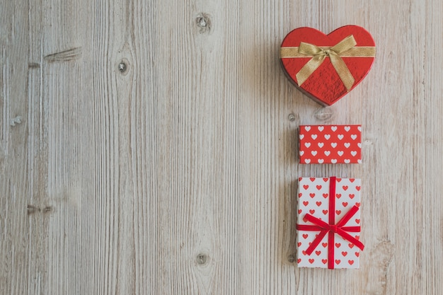 Gift boxes on a wooden table