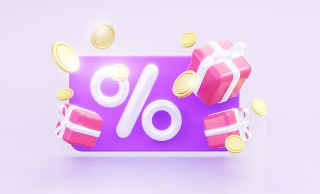 퍼센트와 동전과 상품이 있는 기프트 카드. 3d 렌더링.