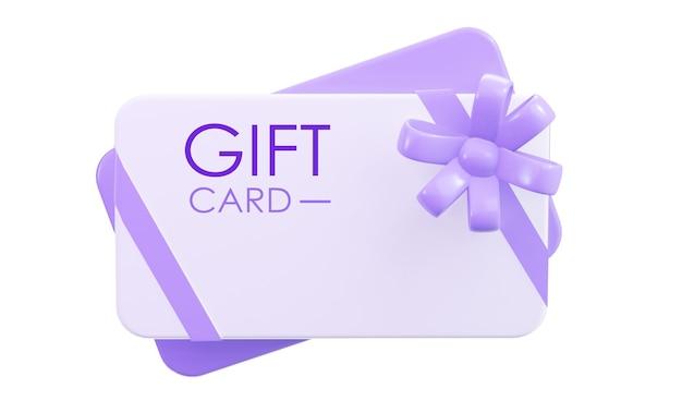 리본으로 선물 카드입니다. 3d 렌더링. 상품권.